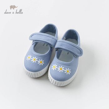 DB13475 Dave & Bella baby girl spring new blue canvas shoes casual brand floralshoes image
