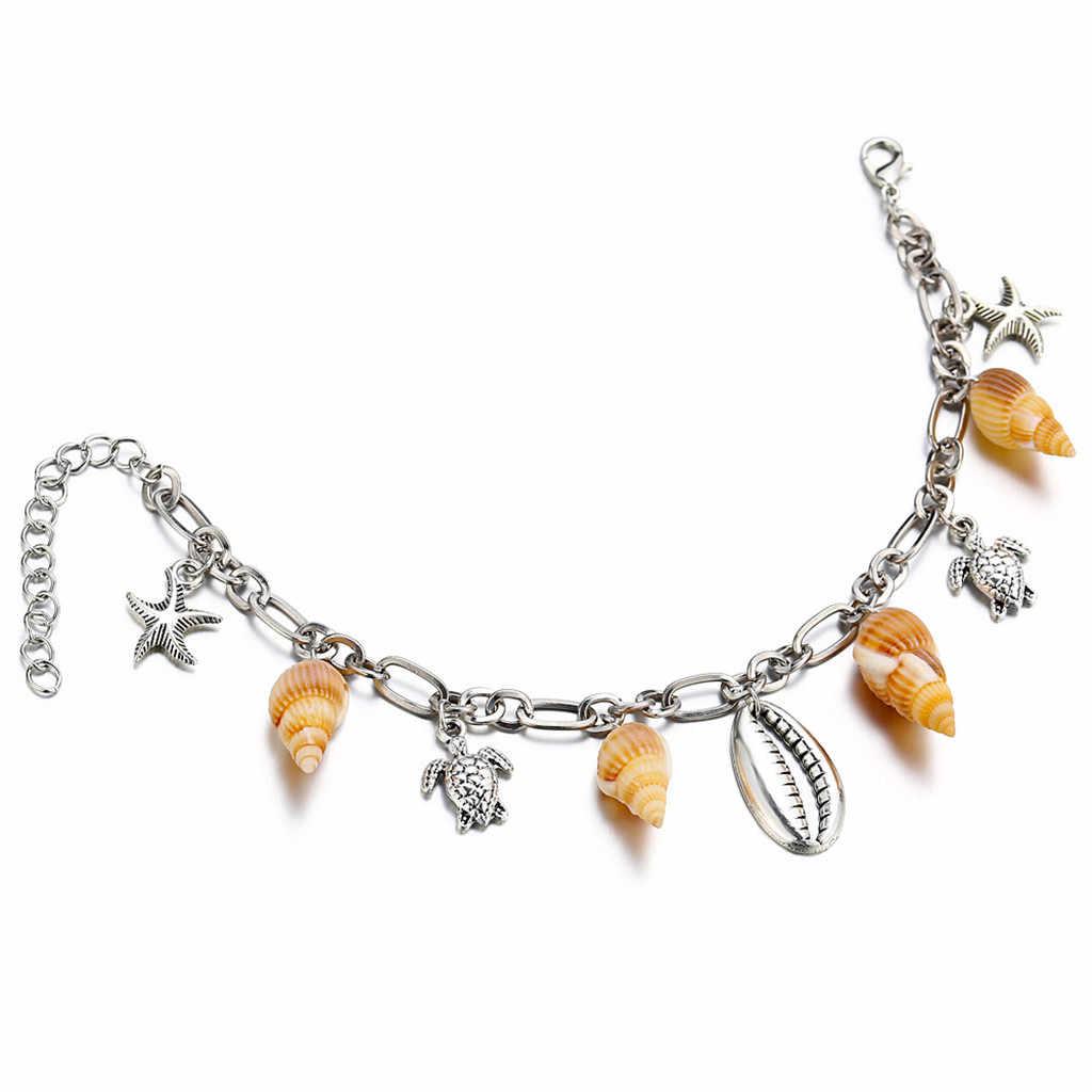 Персональная звезда в виде ракушки ножной браслет дамские ювелирные изделия подарок цепочка на ногу богемные браслеты на ногу для женщин босиком крючком браслеты женски