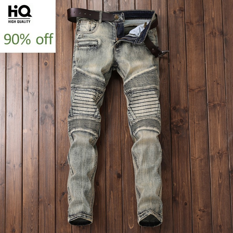 Fashion Brand Men Wear 2020 Straight Distressed Jeans For Men Classical Biker Pants For Mens Full Length Slim Fit Trousers
