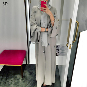 Sequined Detail Open Abaya Muslim Dress Long Fashion Katfan Dubai Kimono Islamic Abaya Prayer Service Clothing