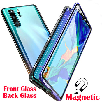 Magnetic Metal Flip Phone Case For Huawei P40 P30 P20 Pro Lite Cover Double Sided Tempered Glass Case For Huawei Mate 30 20 Pro