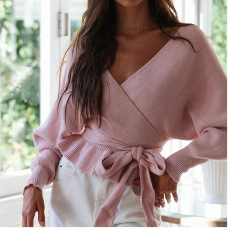 Belt Knit Sweaters Women Invierno 2019 Casual Sexy V-neck Long White Pink Green Fall Woman Sweaters Pullovers