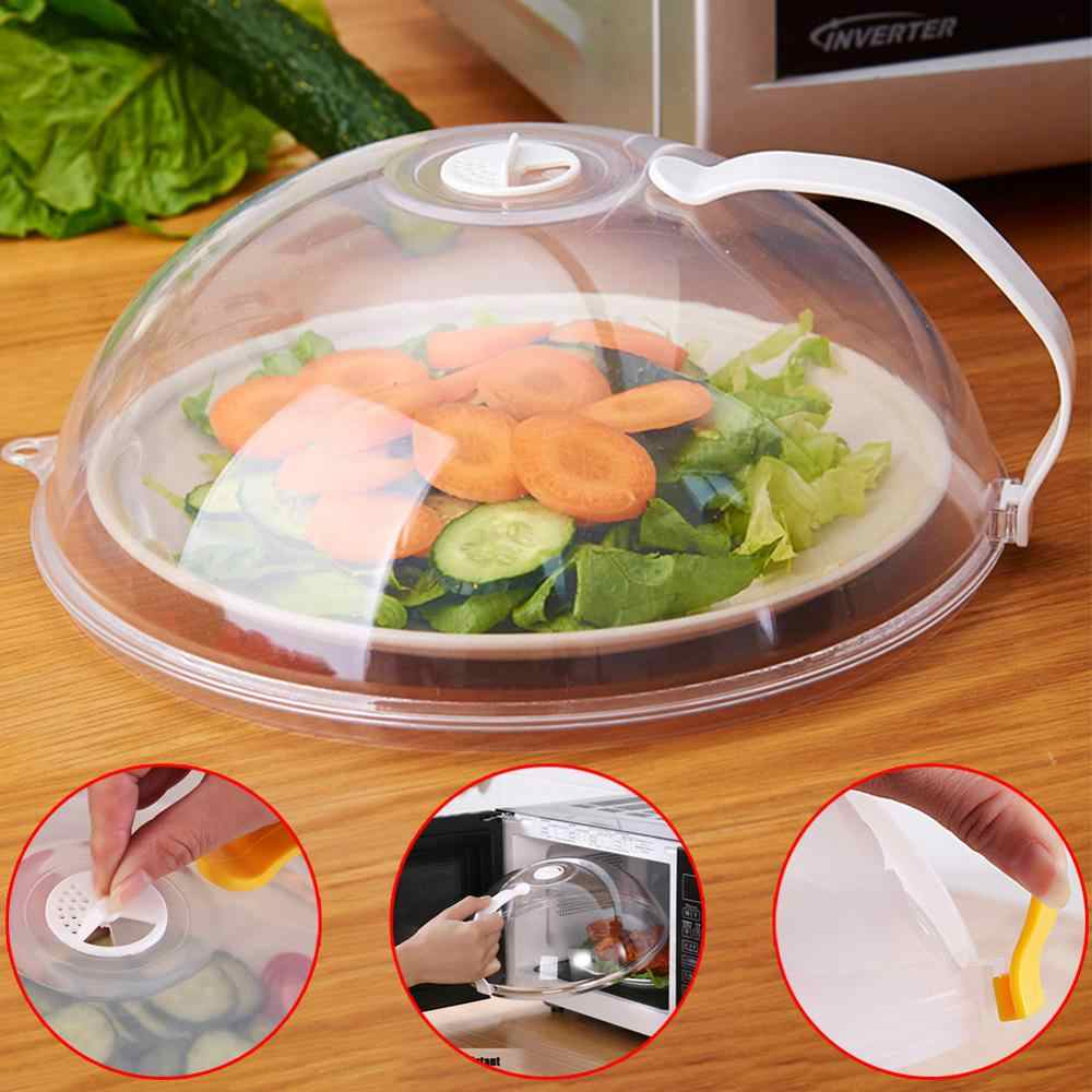 household microwave oven heating cover food cover dish plate pp cover transparent anti splash cap with color random with handle
