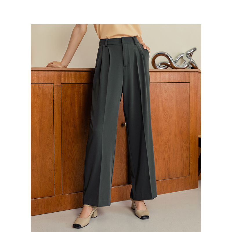 INMAN 2020 Spring New Arrival Elegant Office Style Solid Color High Waist Wide Leg Show Fitness Lose Style Comfortable Pant