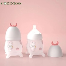 COZINESS Silicone Baby Bottles Wide-Bore Babies Bottles Cute Cow Cartoon Newborn Baby Feeding Bottle Outdoor Water Cup Wholesale