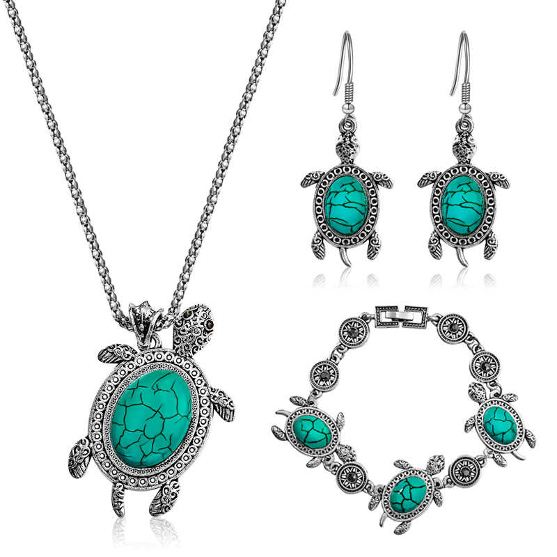 SHUANGR Green Stone Tortoise Jewelry Sets Sea Animal Turtle Pendant Necklace Bracelet Earrings For Women Antique Silver Jewelry