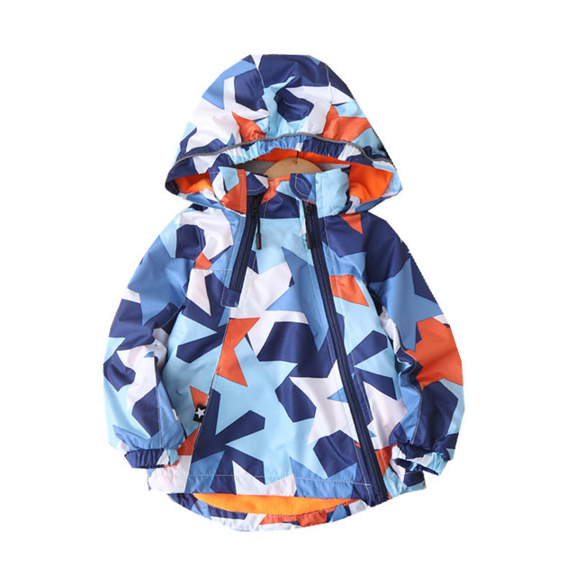 Fashion Waterproof Child Coat Warm Fleece Hooded Baby Boys Jackets Pentagram Print Children Outerwear Kids Outfits For 90 150cm