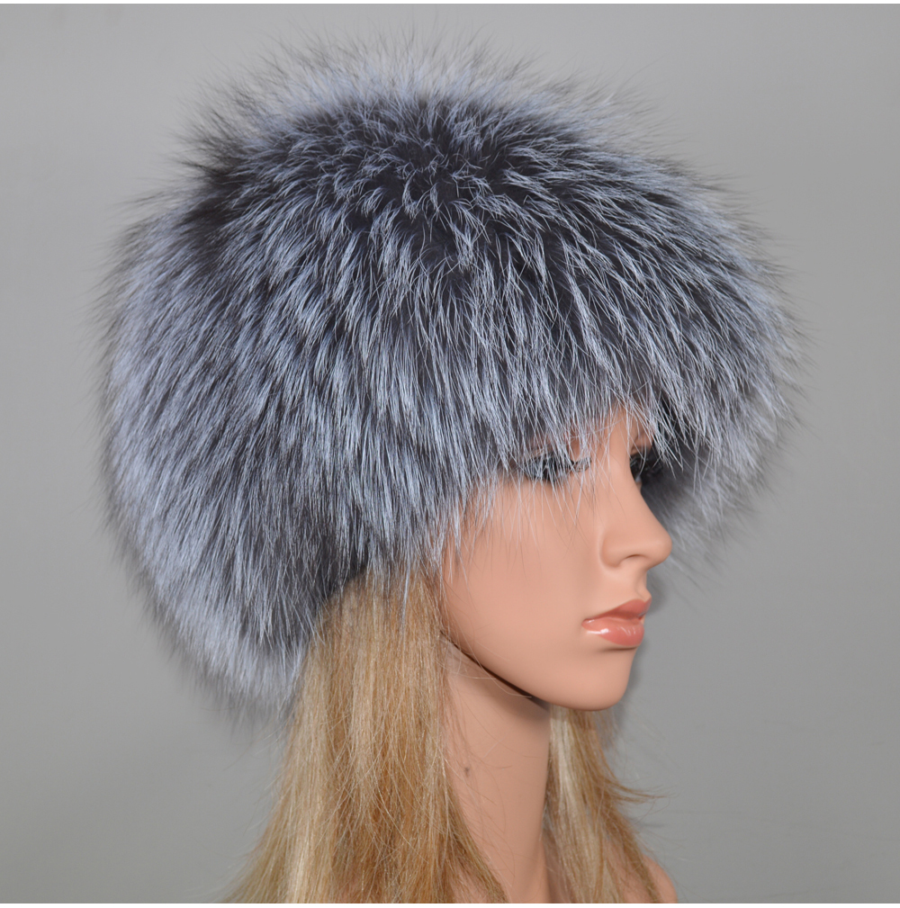 H365e5b5f532f4ed898b2bb97abc7f4beL - New Luxury 100% Natural Real Fox Fur Hat Women Winter Knitted Real Fox Fur Bomber Cap Girls Warm Soft Fox Fur Beanies Hats