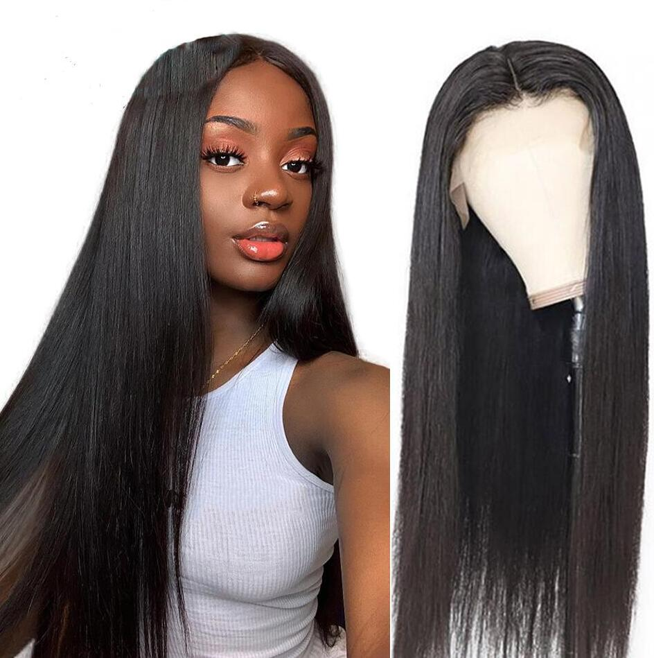 ZM Black Color Long Silky Straight Hair Lace Front Wig Heat Resistant Synthetic Lace Front Wig With Baby Hair For Black Women 1B