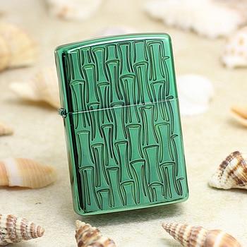 Genuine Zippo oil lighter copper windproof lucky bamboo 3D Sculpture cigarette Kerosene lighters With anti-counterfeiting code
