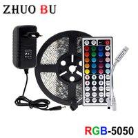 LED 스트립 빛 5M 10M 15M 테이프 다이오드 DC 12V RGB 5050 SMD 2835 유연한 리본 fita led 빛 스트립 RGB + 원격 제어 + 어댑터