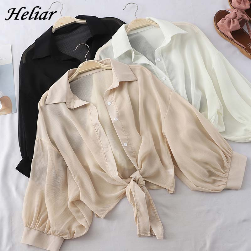HELIAR Chiffon Shirts Women Half Sleeve Buttoned Up Shirts Elegant Loose Blouse Tied Waist Casual Blouses For Women 2020 Autumn(China)