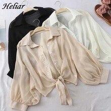 HELIAR Lantern Sleeve Chiffon Shirts Women Workwear Lady But