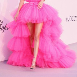 Hot Pink Tutu Layered Maxi Long Skirt High Low Tiers Women Prom Skirt 5 Layers Fashion Occasion Party Skirts Saia Faldas Custom