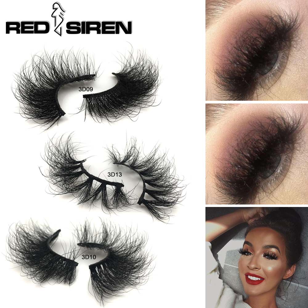 RED SIREN Mink Lashes 25mm 3D Mink Eyelashes Fluffy Messy Lashes Handmade Reusable Natural Eyelashes Popular False Lashes Makeup