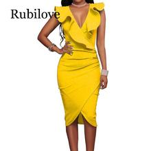 Rubilove Summer Dresses 2019 Women Ruffles Casual Party Black Ladies Wrap Sleeveless V Neck Sexy Midi Dress White Bodycon Vestid