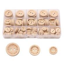 140 pçs cor natural botões de madeira artesanal carta de amor botão de madeira artesanato diy bebê vestuário acessórios