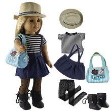 """แฟชั่นเสื้อผ้าตุ๊กตาชุดของเล่นเสื้อผ้าสำหรับ 18 """"ตุ๊กตาอเมริกันCasualเสื้อผ้าหลายสไตล์สำหรับเลือกX27"""