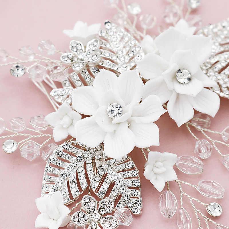 Weiß Harz Blume Braut Hochzeit Haar Kamm Clip Strass Schmuck Haar Pins für Frauen Zubehör Silber Farbe Braut Kopfstück