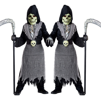 Halloween Cosplay Costume for Kids Carnival Party Baby Boy Girl Scary Horror Zombie Ghost Death Skeleton Print Skull Mask Set