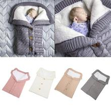Button Sleeping Bag Baby Outdoor Stroller Wool Knit Plus Velvet Thick Warm