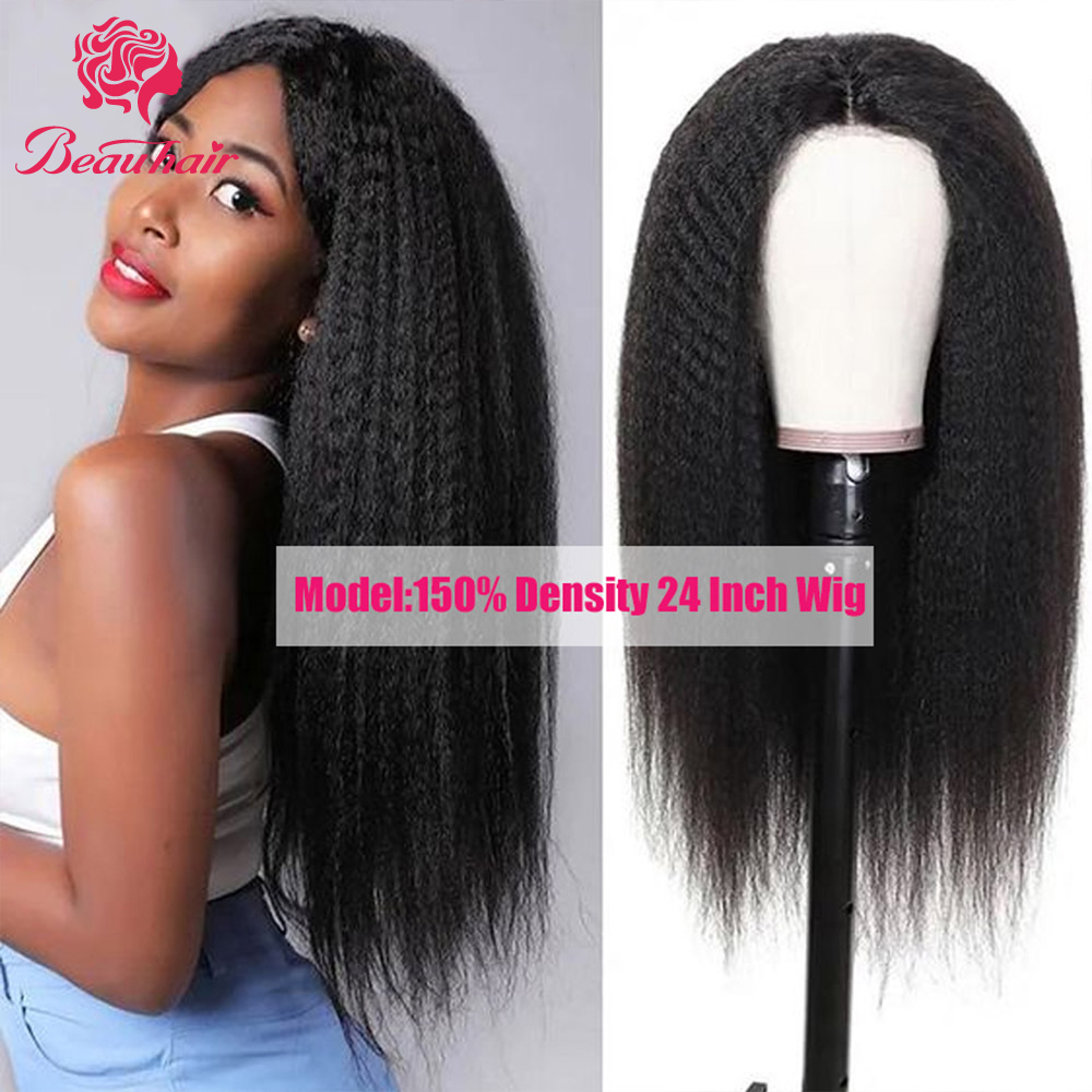 Malaysian  Human Hair Wig Kinky Straight Lace Frontal Wig 13x4 Lace Front Wig Lace  Closure Wig Glueness For Women Remy Wig