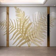 Пользовательские 3d настенные фрески обои с золотым тиснением