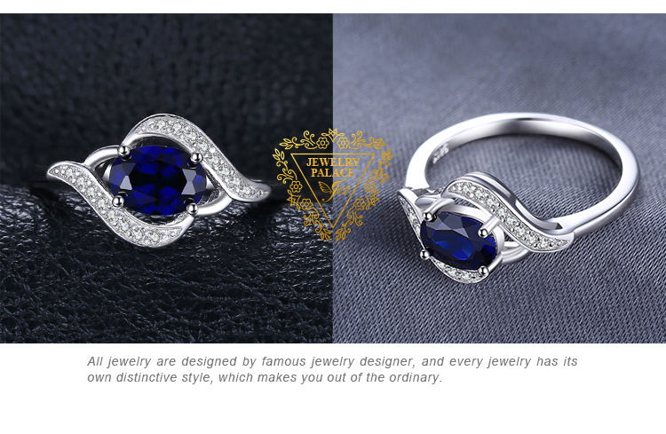 H365efc002de743a5a761cfae1732e468F Jewelrypalace Created Blue Sapphire Ring 925 Sterling Silver Rings for Women Halo Engagement Ring Silver 925 Gemstone Jewelry