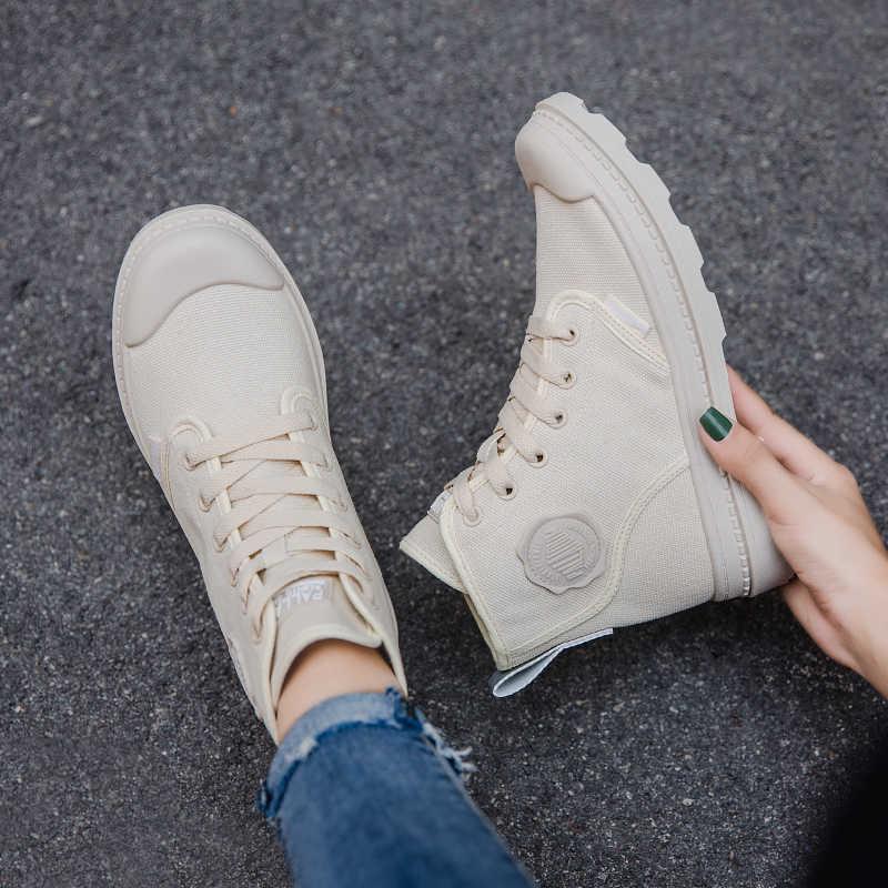 Botas Martin de lona para mujer, nueva moda antideslizante, zapatos casuales con cordones, zapatos de seguridad amarillos para mujer, botines de tobillo