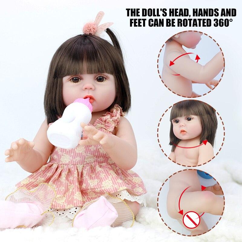 45cm cheio de silicone água potável xixi vinil corpo reborn menina lifelike bebê boneca recém-nascido da criança brinquedo banhar brinquedo presente aniversário
