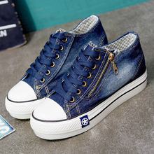 Women Canvas Shoes Lace Up Wear-resistant Platform Sneakers