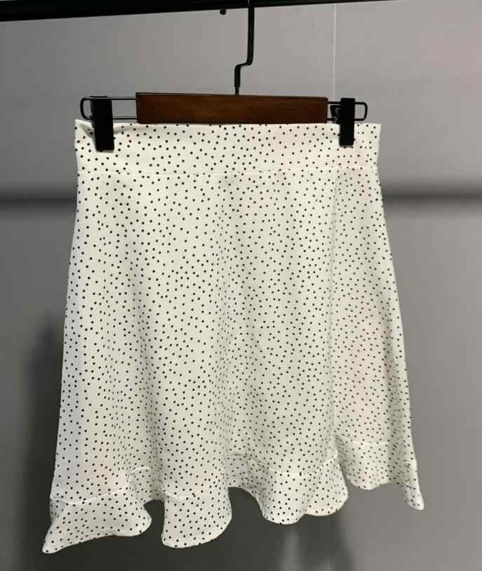 Toppies kobiety kropki Mini spódnica zielony biały Saia wysoka talia Faldas seksowne spódnice 2020 lato