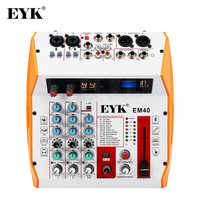 Consola mezcladora de sonido EYK, grabación USB, reproducción de ordenador, mezclador de canales de Audio 4 con PAD Bluetooth 99 DSP, efecto para guitarra, bajo, PC