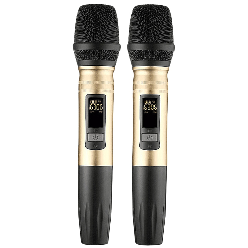 2Pcs/Set Ux2 Uhf Wireless Microphone System Handheld Led Mic Uhf Speaker With Portable Usb Receiver For Ktv Dj Speech Amplifier