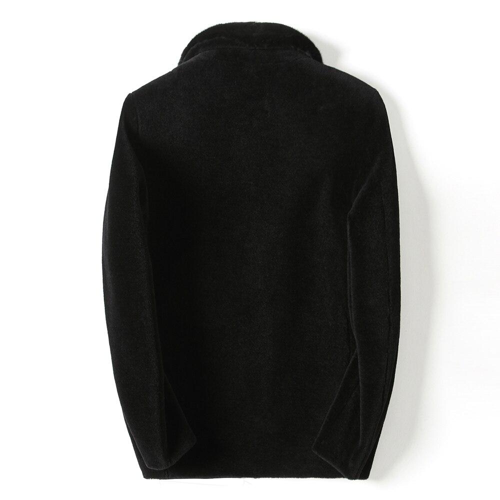 Autumn Winter Real Fur Coat Men Sheep Shearing 100% Wool Jacket Real Mink Fur Collar Plus Size 2020 KFS18M207-1 KJ3800