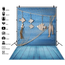 Laeacco Blue Wooden Board Wall Fish Net Baby Toys Summer Party Portrait Photo Backgrounds Photocall Photography Backdrops
