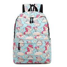 цены Girls Unicorn School Bag Canvas Backpack Cute Pattern School Book Bag Large Capacity Shoulder Travel Daypack Boys Mochila