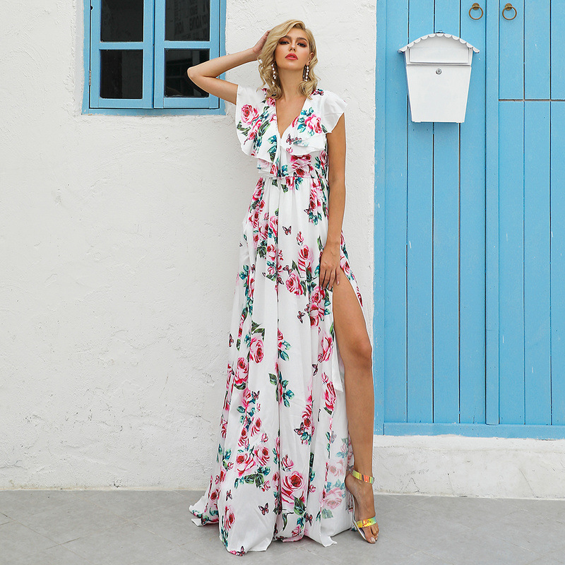 New 2020 Print Flower Long Semi Formal Dress V Neck Ruffles Sleeveless High Split Sexy Women Dresses