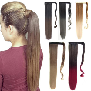 Long Straight Clip in Hair Tail False Hiar Warp Around Ponytail Extension Synthetic Hairpiece with Hairpins