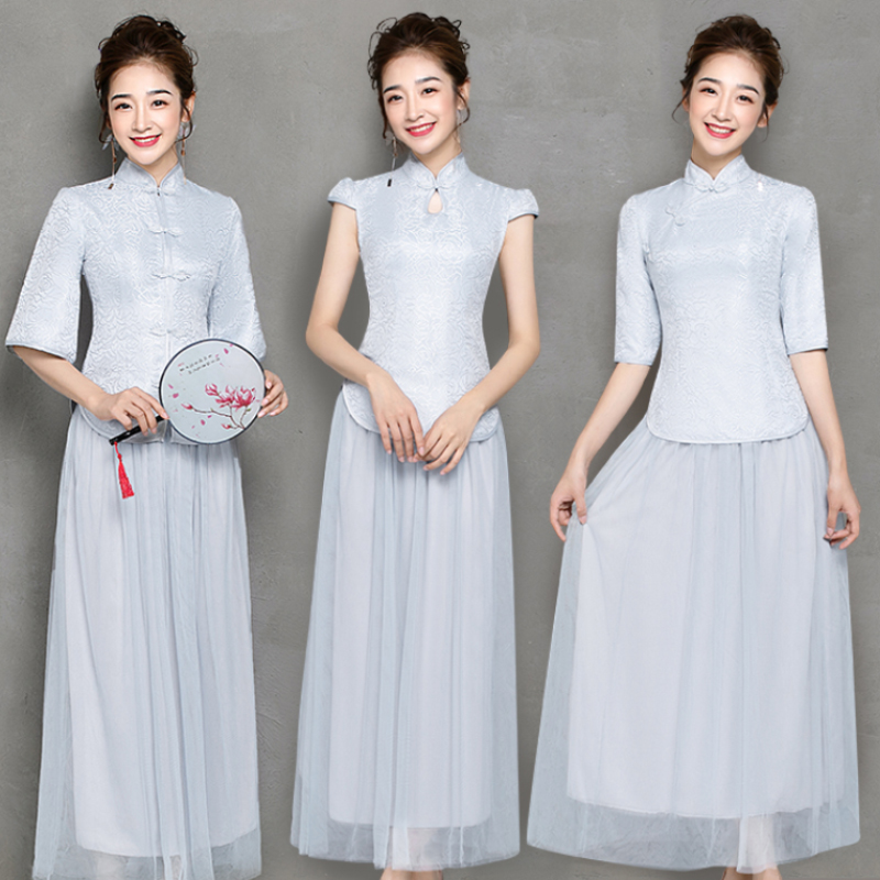 Vintage Embroidery Flower Mesh Women Elegant Cheongsam Gray Bridesmaid Dresses Sister Party And Wedding Guest Sexy Prom Vestido