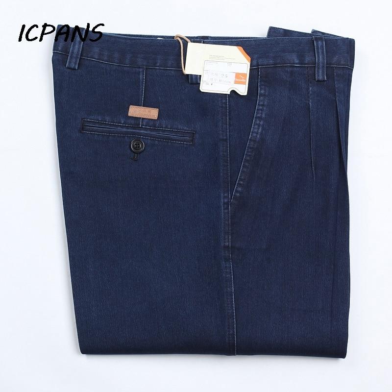 ICPANS Plus Size 30- 42 44 46 Denim Jeans For Men Autumn Classic High Waist Straight Loose Blue Stretch Jeans Men 2019