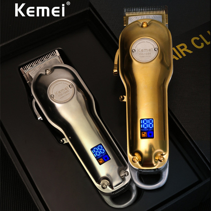 Kemei 1986 Professional Electric All Metal Hair Clipper LCD Digital Cordless Hair Trimmer Men Silver Gold Haircut Machine Barber