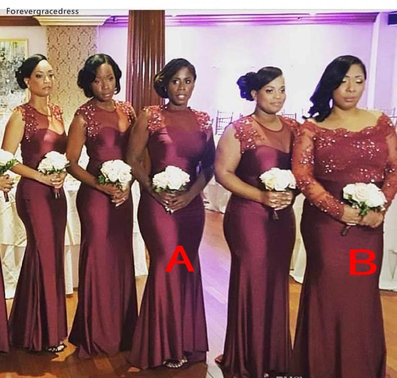 2019 Summer Spring Bridesmaid Dress Burgundy African Nigerian Country Garden Wedding Party Guest Maid Of Honor Gown Plus Size
