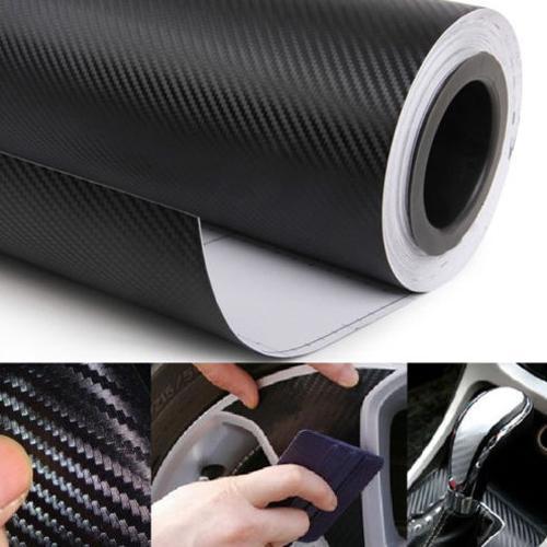 Rollo de lámina adhesiva de vinilo 3D de fibra de carbono negra para decoración de coche DIY