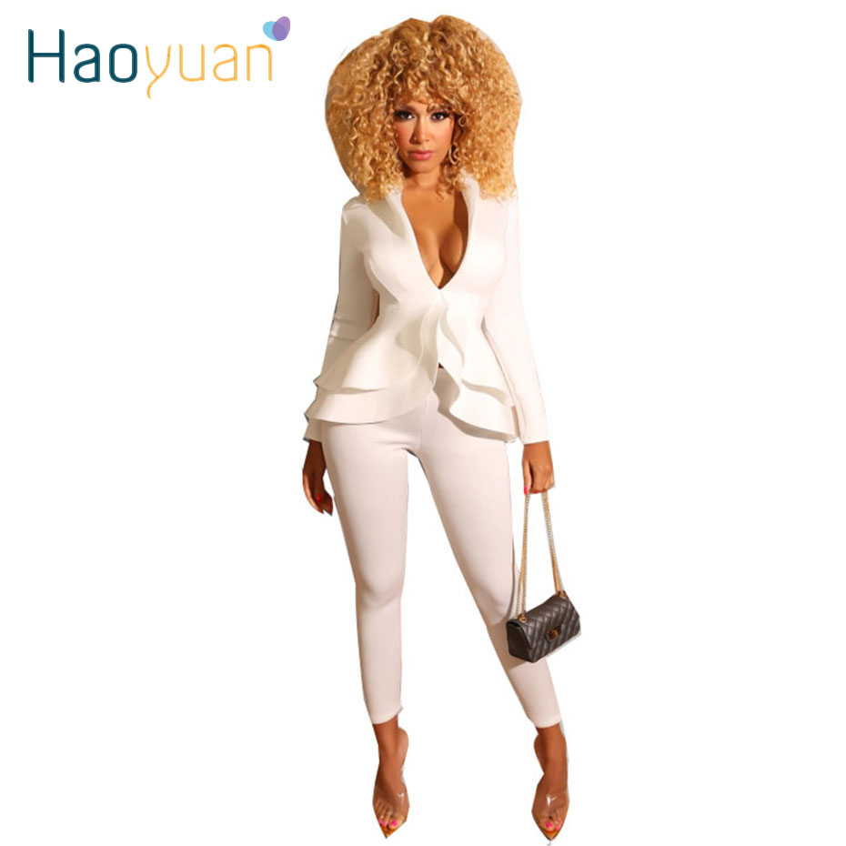 HAOYUAN Sexy Two Piece Set Long Sleeve Ruffles Top And Pants Suit Fashion Nova Women Clothing Fall 2019 Streetwear Matching Sets
