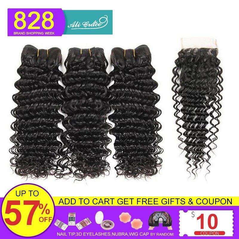 Deep-Wave-Bundles Closure Human-Hair Transparent Lace Brown Ali-Grace Hd Lace Brazilian
