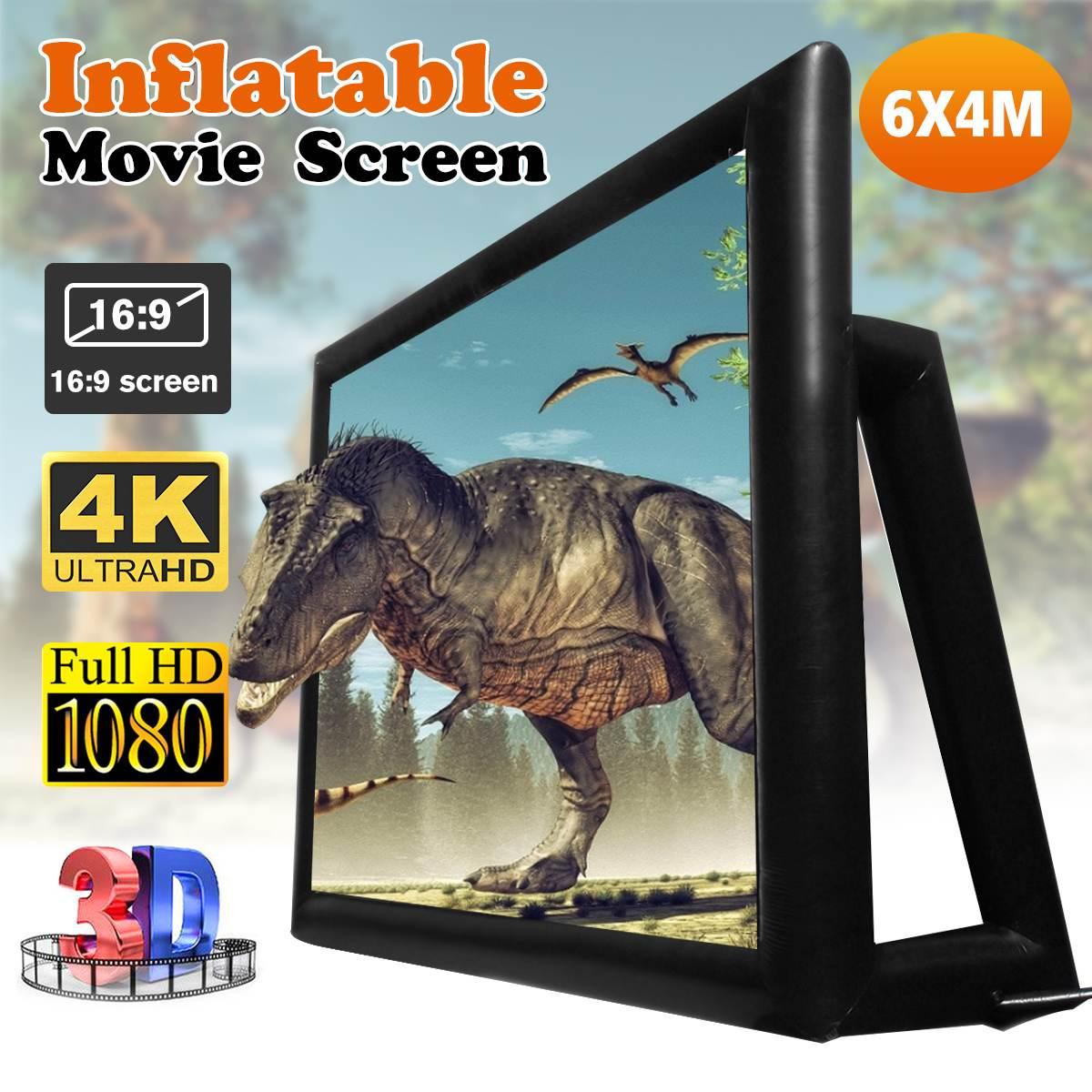 6x4 м 4,4x2,5 м 169 200 дюймов надувной ТВ театр Экран дисплея на открытом воздухе Проекционные экраны