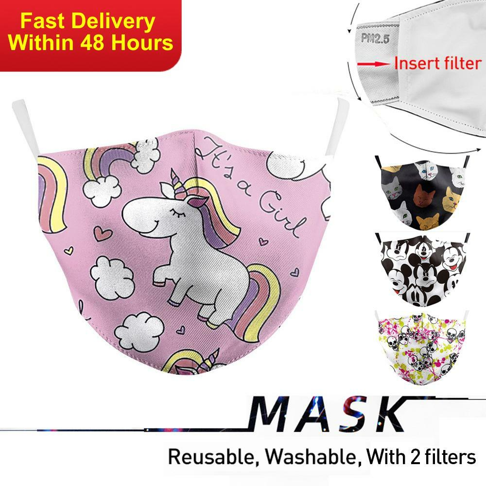 Zawaland Kids Unicorn Print Face Masks Cartoon Print Mouth Mask Cover With 2 Filter Washable Reusable