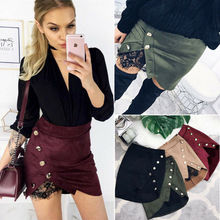 1PC New fashion lace patchwork skirts Women Short Bodycon Skirts Lace Up Suede Leather Pocket Preppy Mini dress Suede Fabric lace insert draped mini bodycon dress
