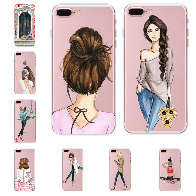 Case For iphone XS Max Cover Travel Girl Transparent Silicone Soft TPU XR X 7 7plus 8 6 6S Bags Fundas